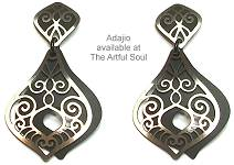 Adajio Post Black Scrolls Earrings