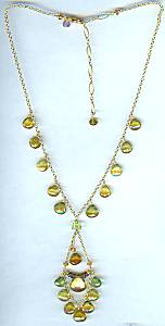 Amethysts Chandelier Necklace with Green Garnet