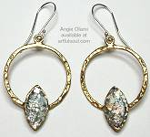 Angie Olami Brass Ring Roman Glass Earrings