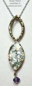 Angie Olami Brass Roman Glass Necklace