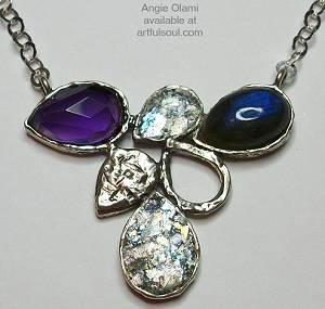 Angie Olami Gemstone and Roman Glass Cluster Necklace