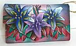 Anuschka Luscious Lilies Checkbook Wallet