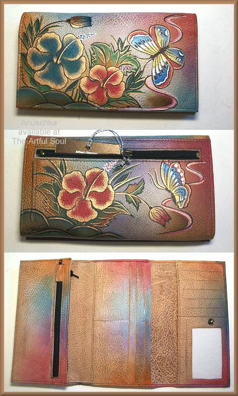 Anuschka Hibiscus Antique Multi-Pocket Wallet/Clutch
