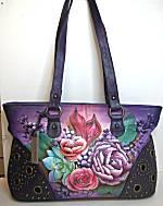 Anuschka Lush Lilac Twin Top Studded Shopper Bag
