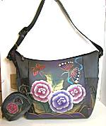 Anuschka Antique Rose Pewter Hobo Tote