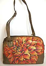 Anuschka Dreamy Dahlias Multi Compartment Zip-Around Organizer Bag