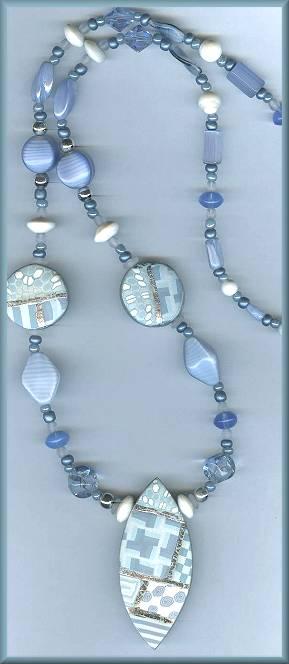 Artful Light Blue Geometrics Necklace