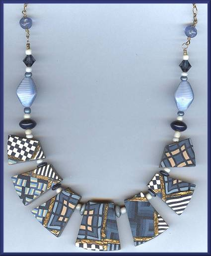 Artful Navy Geometrics Necklace