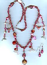 Artful Long Rose Charmed Necklace Set