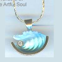 Bezak 14ky Small Wave Pendant with Diamond