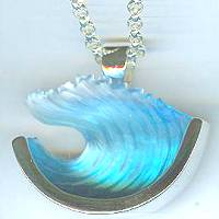 Bezak Sterling Large Wave Pendant