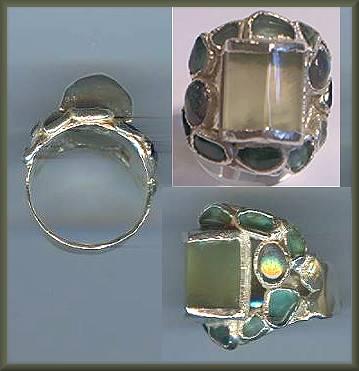 Dandridge Silver Prehnite Apatite Ring