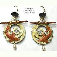 Doezignz Ivory/Coral Koi Earrings