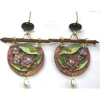 Doezignz Dusty Rose Flowers & Leaves Earrings