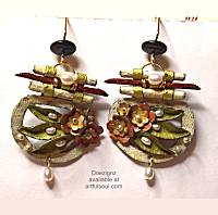 Doezignz Pearl Leaves & Scrolls Earrings