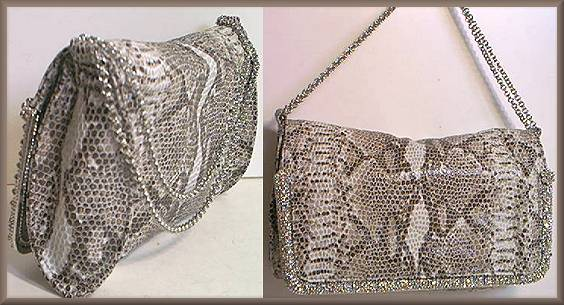 Lixenberg Snake Printed Leather Evening Bag