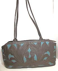 Leaders in Leather Turquoise/Brown Compartment Bag