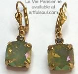 La Vie Golden Celadon Medium Earrings