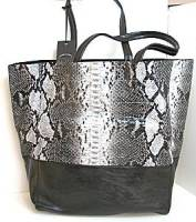 Liz Soto Black/Gray Python 2-in-1 Tote