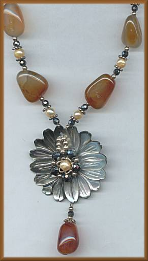 Morning Sun Black Flower Carnelian Necklace