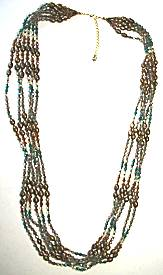 Nakamol Multi-Strand Long Beaded Necklace, Bronze/Aqua