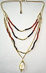 Nakamol Multi-Chain Necklace, Orange/Gold