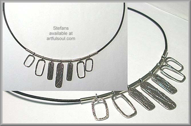Stefans Textured Tabs Necklace