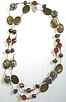 Sun Designs Fancy Browns Long Knotted Necklace