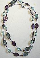Sun Designs Purple/Aqua Long Knotted Necklace