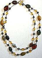 Sun Designs Amber/Earth Long Knotted Necklace