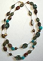 Sun Designs Turquoise/Brown Long Knotted Necklace