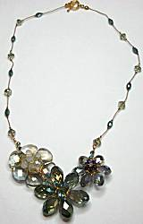Sun Designs Gray/Lagoon Flower Trio Necklace