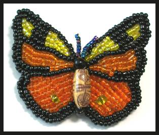 Beaded Monarch Butterfly Pin