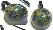 VStyle Glass Pendant, Periwinkle/Aqua Flower