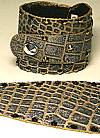Whimsical Originals Gold/Gray Croco Wrap Cuff Bracelet