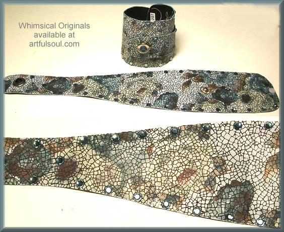 Whimsical Originals Denim Floral Wrap Cuff Bracelet